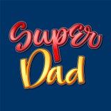 Super Dad colorful calligraphy phrase on dark background vector illustration