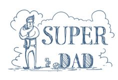 Super Dad Doodle Poster With Man Embracing Kid On White Background Happy Father Day Concept. Vector Illustration Stock Image