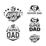 Super Dad emblems. Super Dad emblem. Super hero logo set. Vector illustration stock illustration