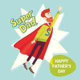 Super Dad. Fathers Day Greeting Card. Vector illustration. EPS 10 Royalty Free Stock Images