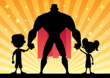 Super Dad. With his kids. No transparency used. Basic (linear) gradients vector illustration