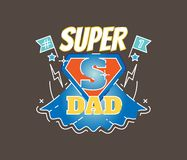 Super Dad illustrated vector badge. With blue and red color Stock Image