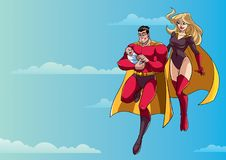 Super Dad Mom and Baby in Sky royalty free illustration