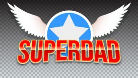 Super dad, red shiny text on horizontal transparent background. Super hero typography with white wings and star for t vector illustration