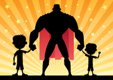 Super Dad with 2 Sons Royalty Free Stock Photo
