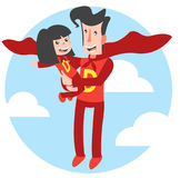 Super Dad and Super Daughter Vector Illustration