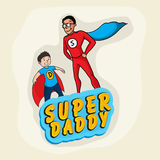 Super Daddy with son for Fathers Day celebration. Stock Photo