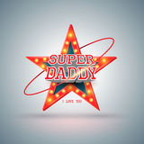 Super daddy with star retro Stock Photography