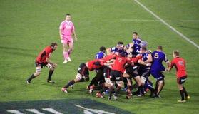 Super de Spelersscrum van het Rugbyspel Stock Afbeeldingen