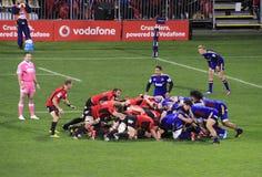 Super de Spelersscrum van het Rugbyspel Stock Fotografie