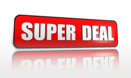 Super deal banner. Super deal 3d red banner with white text Stock Photo