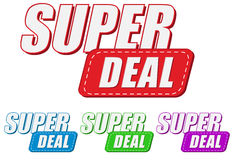 Super deal, four colors labels Stock Photos