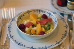 Super delicious fresh fruit salad luxurious dessert in Europe royalty free stock photo