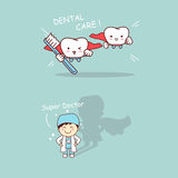 Super dentist and tooth Royalty Free Stock Photography