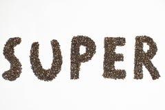 Super die woord van chiazaden wordt gemaakt op witte achtergrond stock afbeelding