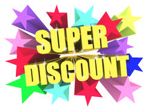 Super Discount golden text among bright multicolored stars. 3d render Royalty Free Stock Image