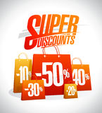 Super discounts design concept with shopping bags. Super discounts design concept with paper shopping bags, sale vector poster Royalty Free Stock Photos