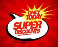 Super discounts design pop-art style. Super discounts design in pop-art style Royalty Free Stock Image