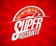 Super discounts sale design with speedometer. Symbol Stock Image