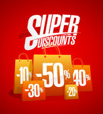 Super discounts sale poster with shopping bags, clearance coupon design. Super discounts sale poster with paper shopping bags, clearance coupon vector design Stock Photos