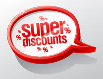 Super discounts speech bubble. Stock Image