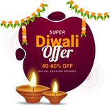Super Diwali Offer 40-60% discount offer with illuminated oil la. Mps on white floral background for Indian festival celebration concept royalty free illustration