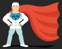 Super doctor in red raincoat Stock Photo