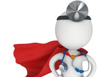 Super Doctor with a stethoscope and mirror. Royalty Free Stock Photography