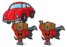 Super dog and car Stock Photo