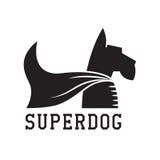 Super Dog Hero Emblem. Superdog outline emblem. Super dog hero in heroic cape emblem. Scotch terrier in cloak Stock Photo