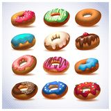 Super donut pack. Chocolate and vanilla icing Royalty Free Stock Image