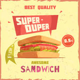 Super Duper Sandwich Promotional Poster. Super duper sandwich of best quality with price and tag promotional poster on textured background vector illustration Royalty Free Stock Image