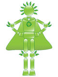 Super Eco Man. Illustration of green ecological conservation character with cape Royalty Free Stock Photo