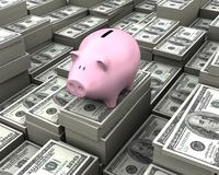 Super Economy. The piggy is full of money everywhere. Concept of economy and wealth Stock Image