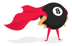 Super eight ball standing as bad luck hero Royalty Free Stock Images