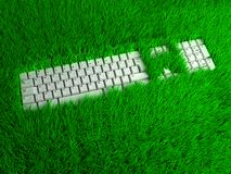Super ergonomic keyboard. conceptual illustration. Fantasy freelance workplace. Super ergonomic keyboard on green grass. Conceptual  3d illustration Royalty Free Stock Image
