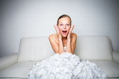 Super excited gorgeous bride. At home stock photos