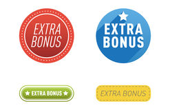 Super extra bonus banners text in color drawn labels, business shopping concept vector internet promotion shopping Royalty Free Stock Photography