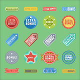 Super extra bonus banners text in color drawn labels, business shopping concept vector internet promotion shopping Royalty Free Stock Image