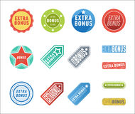 Super extra bonus banners text in color drawn labels, business shopping concept vector internet promotion shopping Royalty Free Stock Photos