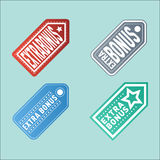 Super extra bonus banners text in color drawn labels, business shopping concept vector internet promotion shopping Stock Images