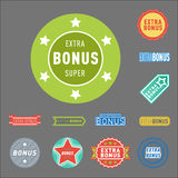 Super extra bonus banners text in color drawn labels, business shopping concept vector internet promotion shopping vector illustration