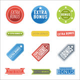 Super extra bonus banners text in color drawn labels, business shopping concept vector internet promotion shopping Stock Image