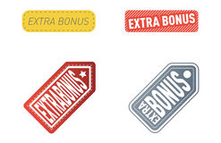Super extra bonus banners text in color drawn labels, business shopping concept vector internet promotion shopping stock illustration