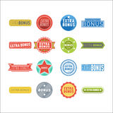 Super extra bonus banners text in color drawn labels, business shopping concept vector internet promotion shopping. Super and extra bonus banners text in color stock illustration