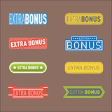 Super extra bonus banners text in color drawn labels, business shopping concept vector internet promotion shopping. Super and extra bonus banners text in color vector illustration