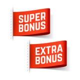 Super and extra bonus labels Stock Photo