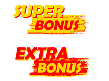 Super and extra bonus, yellow and red drawn labels vector illustration