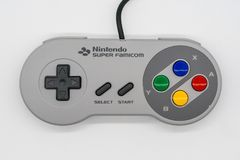 Super-Famicom Mini Controller, Weinlesespielkonsole durch Nintendo stockfoto