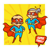 Super familie Grootvader en Grootmoeder Superheroes Vector Illustartion royalty-vrije illustratie